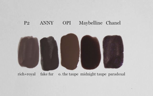 P2 rich+royal, ANNY fake fur, OPI over the taupe, Maybelline midnight taupe, Chanel paradoxal