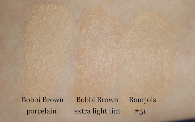"Swatch: Bobbi Brown ""porcelain"", Bobbi Brown ""extra light tint"", Bourjois Healthy Mix #51 light vanilla"