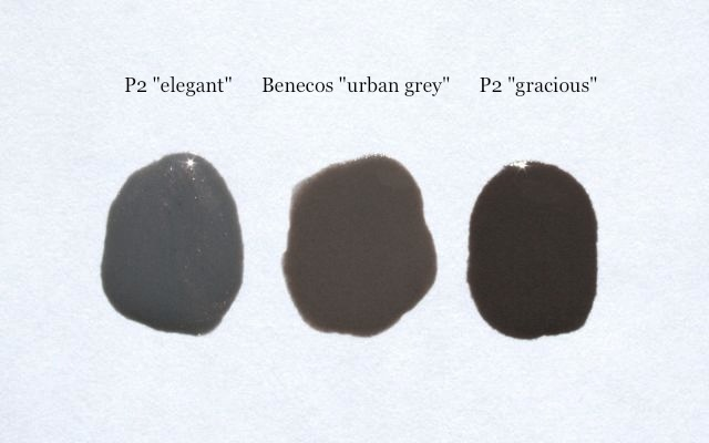 Swatch: P2 elegant, Benecos urban grey, P2 gracious