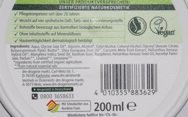 INCI Alverde Körperbutter Honigmelone
