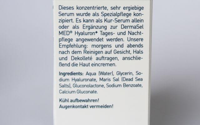 Inhaltsstoffe DermaSel Totes Meer Hyaluron Falten Repair Serum