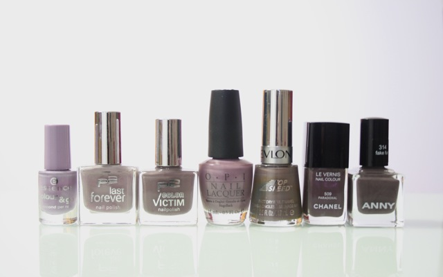lila und taupefarbene Nagellacke von Essenc, P2, OPI, Revlon, Chanel und ANNY