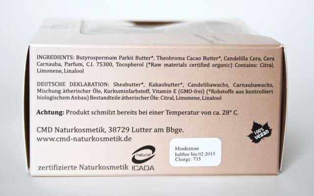 CMD Pflegebutter Zitrus - Inhaltsstoffe