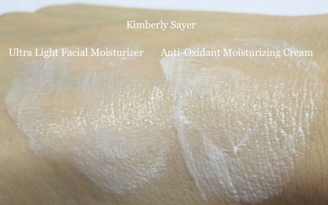 Kimberly Sayer Sunscreen Ultra Light Moisturizer SPF 30 + Kimberly Sayer Sunscreen Anti-Oxidant Moisturizing Cream SPF 30 Swatch