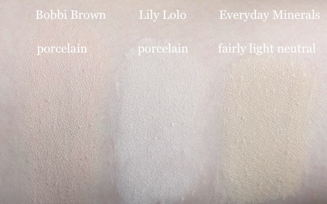 Swatch Everyday Minerals fairly light neutral + Lily Lolo porcelain