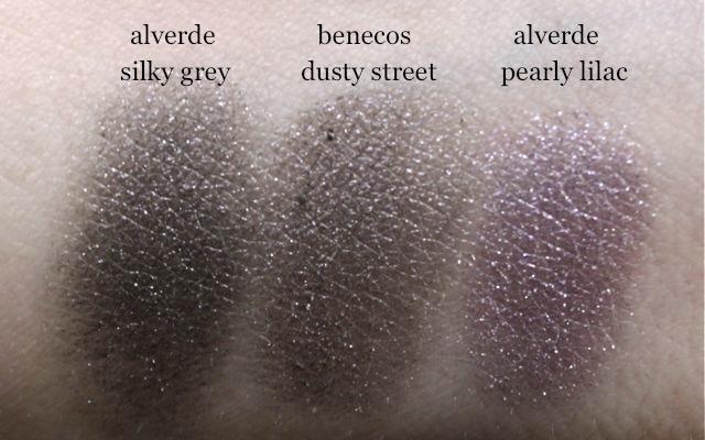 alverde silky grey, benecos dusty street, alverde pearly lilac