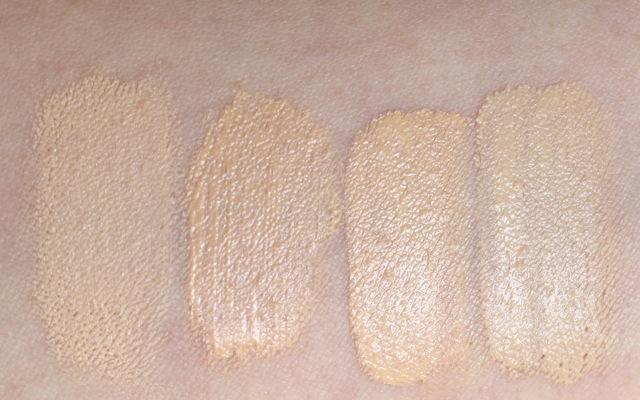 "Swatch Bobbi Brown ""porcelain"", Lavera Mousse Make-up ""02 ivory"", Maybelline Fit Me 105, Catrice All Matt ""light beige"""
