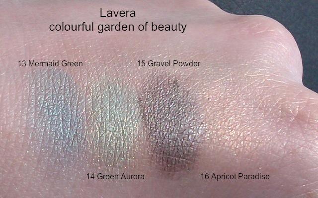 Heli-Lavera-Colourful-Garden-Swatches-Eyeshadow-Mermaid-Green-Green-Aurora-Gravel-Powder-Apricot-Paradise