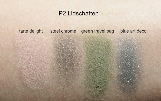 "P2 Lidschatten:  Color Up! ""tarte delight"", High Chrome ""steel chrome"", Ultra Matte ""green travel bag"", Intense Artist Pigment ""blue art deco"""