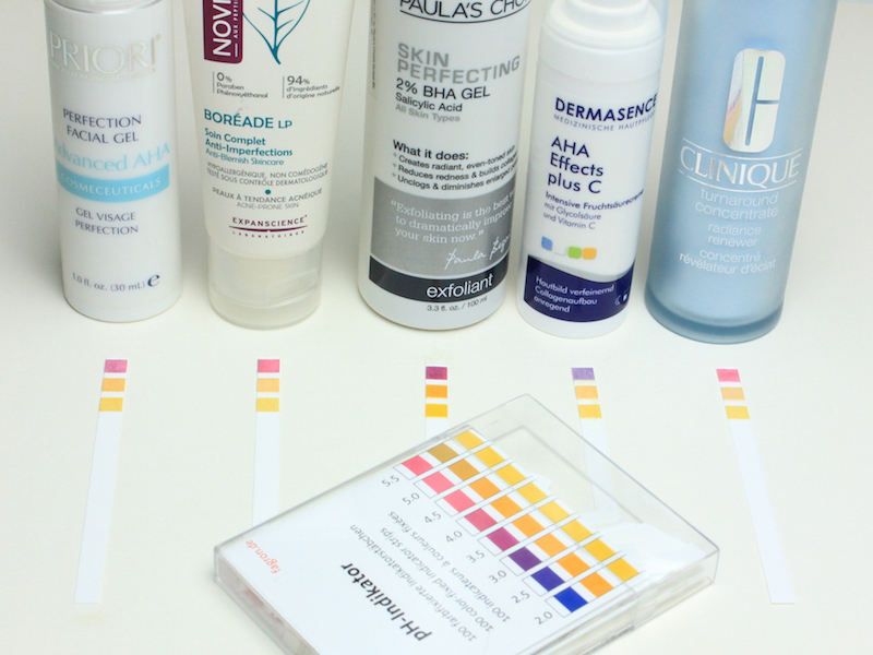 BHA und AHA Produkte im pH Wert Test