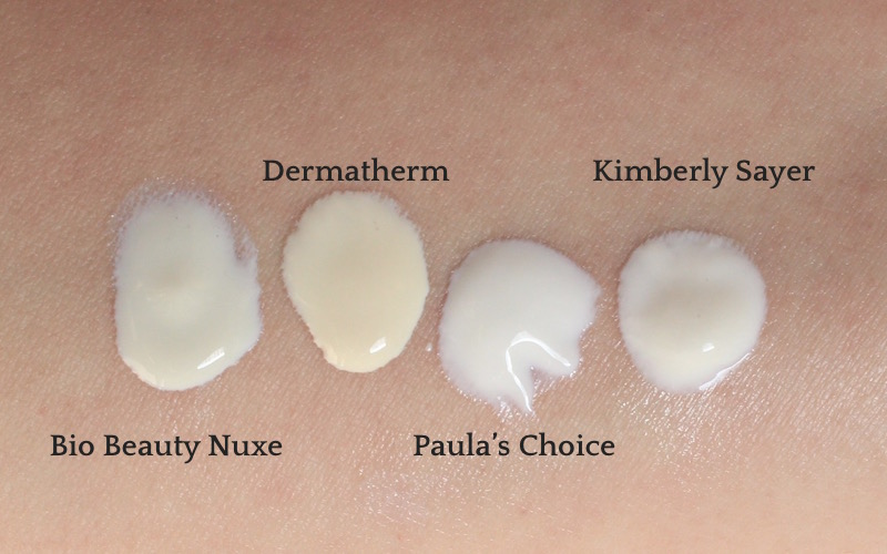 Swatches: Bio Beaute Nuxe, Dermatherm Pursun, Paula's Choice Hydralight, Kimberly Sayer Ultra Light Moisturizer